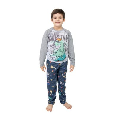 Pijama Longo Infantil Masculino Dino Skatista