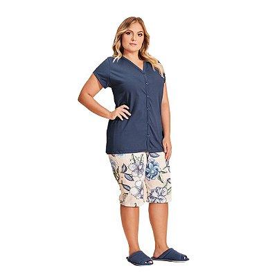 Pijama Pescador Adulto Feminino Floral Aberto
