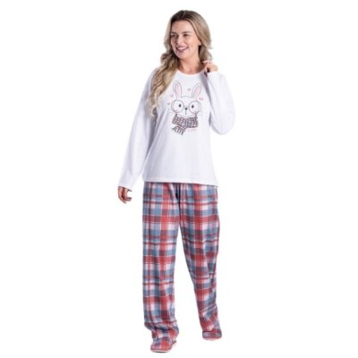 Pijama Longo Adulto Feminino Coelho