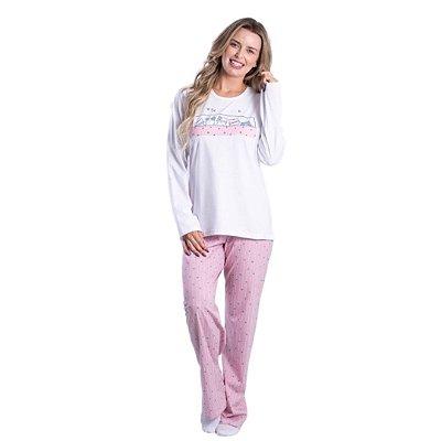 Pijama Longo Adulto Feminino Gatinho