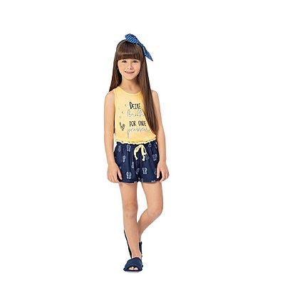 Pijama Curto Infantil Feminino Deixe Brilho Por Onde Passar