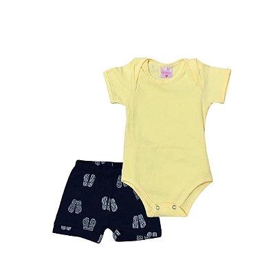 Body Curto Bebê Camisa Amarela com Short Azul