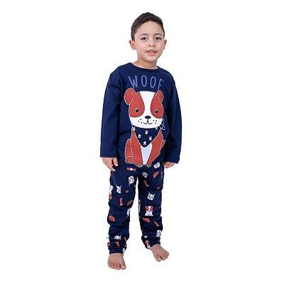 Pijama Longo Infantil Masculino Dog com Bandana Azul