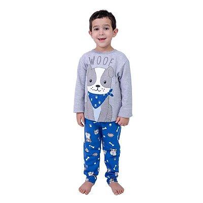 Pijama Longo Infantil Masculino Dog com Bandana Cinza