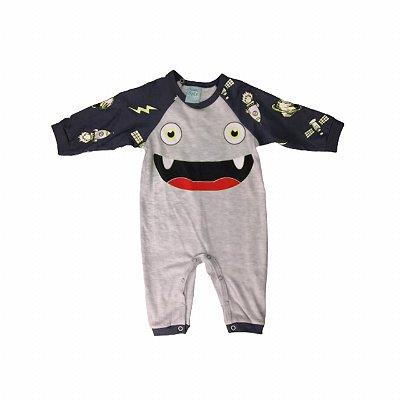 Macacão Infantil Monstrinho Cinza Brilha no Escuro