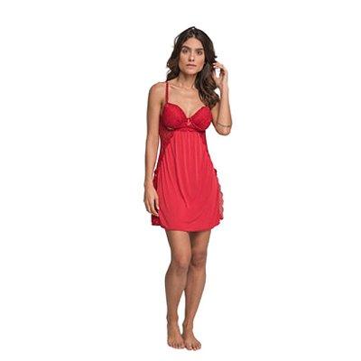 Camisola Curta Adulto Com Bojo Vermelha