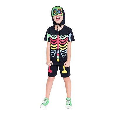 Pijama Curto Infantil Masculino Esqueleto Colorido