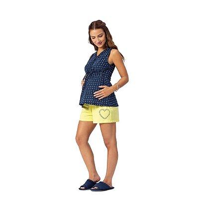 Pijama Curto Adulto Feminino com Abertura Para Amamentação