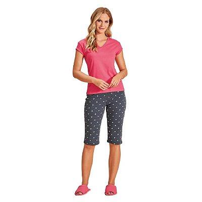 Pijama Pescador Adulto Feminino Blusa Rosa Decote V