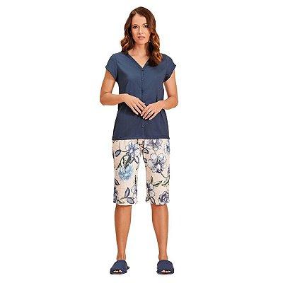 Pijama Pescador Adulto Feminino Com Blusa com Abertura Frontal