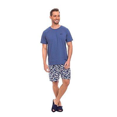 Pijama Curto Adulto Masculino Blusa Azul Short Tubarão