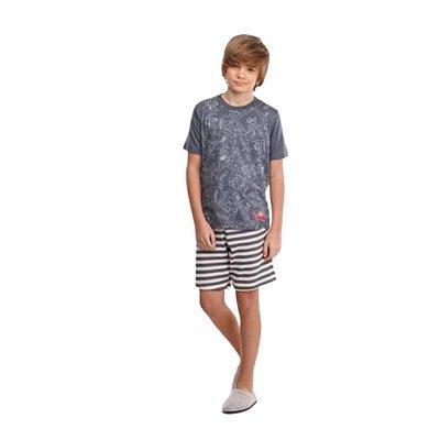 Pijama Curto Infantil Masculino Camisa Cinza Calça Listrada