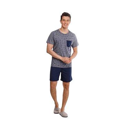 Pijama Curto Adulto Masculino Camisa Cinza Calça Azul Escuro