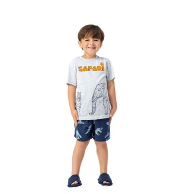 Pijama Curto Infantil Masculino Camiseta Safari
