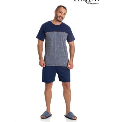 Pijama Curto Adulto Masculino Camiseta Cinza/Azul Escuro Short Azul