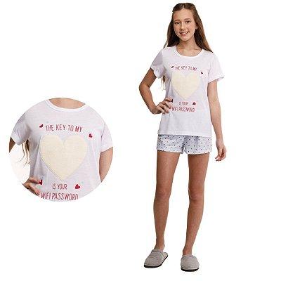 Pijama Curto Adulto Feminino Camisa Branca Short Coração