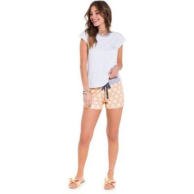 Pijama Curto Adulto Feminino Blusa Branca Poá Short Amarelo Com Laço