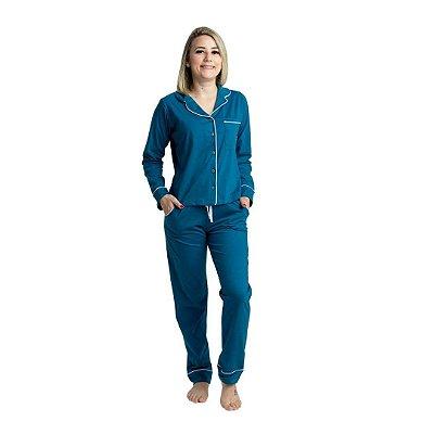 Pijama Longo Adulto Feminino Azul Verde Petroleo