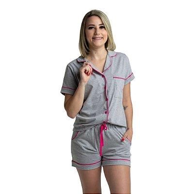 Pijama Curto Adulto Feminino Azul Verde Cinza/Rosa