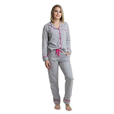 Pijama Longo Adulto Feminino Azul Verde Cinza/Rosa