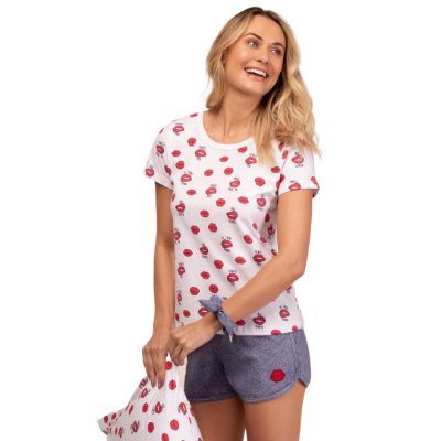 Pijama Curto Adulto Feminino Blusa Corações Short Barra Arredondada Cinza