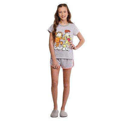 Pijama Curto Adulto Feminino Blusa Cinza Garfield Short Barra Arredondada