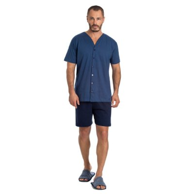 Pijama Curto Adulto Masculino Blusa Abertura Frontal e Bermuda Lisa Azul Plus Size