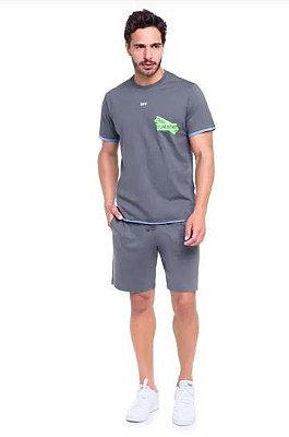 Pijama Curto Adulto Masculino Blusa e Bermuda Cinza