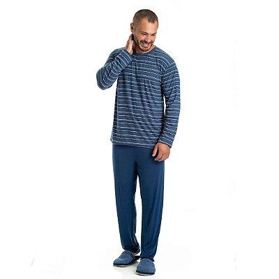 Pijama Longo Adulto Masculino Camisa Listrada Calça Lisa Azul Plus Size