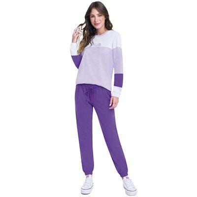 Pijama Longo Adulto Feminino Com Degrade Calça Lisa Lilás