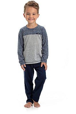 Pijama Curto Infantil Masculino Blusa E Calça Lisa Chumbo