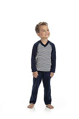 Pijama Longo Infantil Masculino Blusa Listrada e Calça Azul Escuro Lisa
