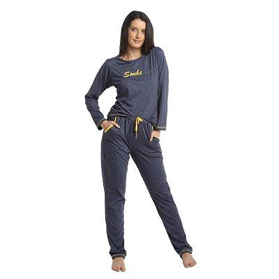 Pijama Longo Adulto Feminino Blusa e Calça Cinzas com Detalhes Amarelo