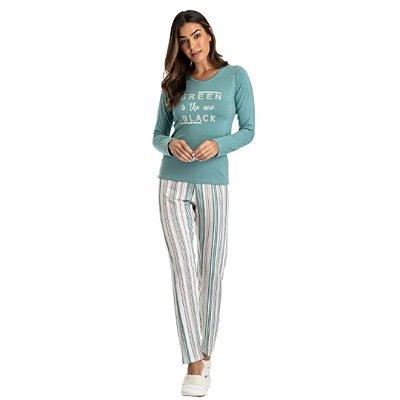 Pijama Longo Adulto Feminino Blusa Green Is The New Black e Calça Listrada
