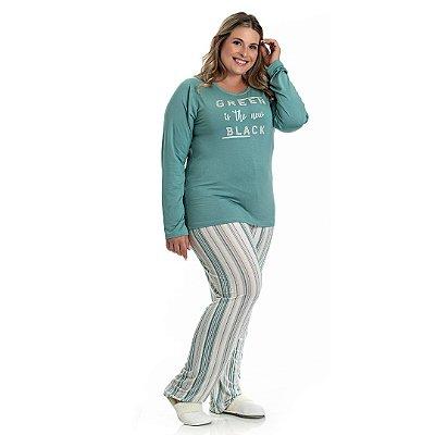 Pijama Longo Adulto Feminino Blusa Green Is The New Black e Calça Listrada Plus Size