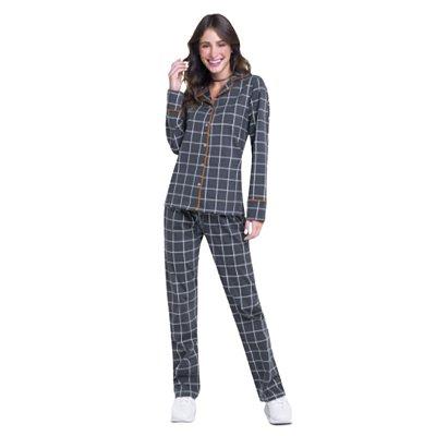 Pijama Longo Adulto Feminino Blusa e Calças Listradas Cinza e Branco