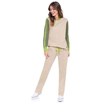 Pijama Longo Adulto Feminino Blusa Tom Pastel Mangas Esverdeadas Calça Pastel