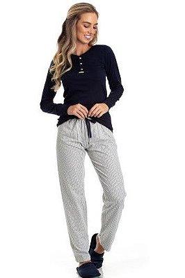 Pijama Longo Adulto Feminino Manga Malha Canelada Calça Listrada
