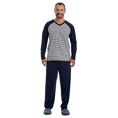 Pijama Longo Adulto Masculino Manga Raglan Calça Lisa