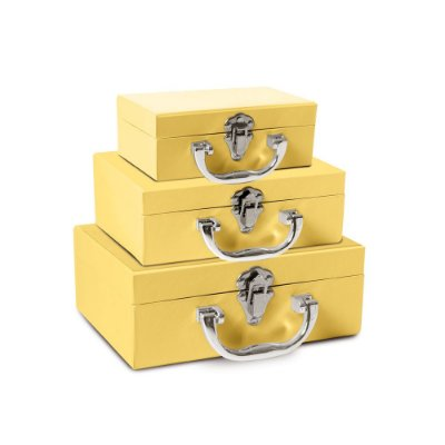 Conjunto De Maletinhas Rigida Amarelo P/M/G Pt C/3 Un