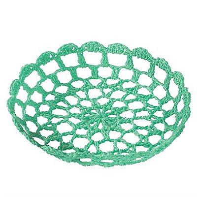 Bandeja Redonda Pequena em Crochê para Decoração - Verde