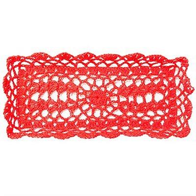 Bandeja Retangular em Crochê para Decoração - Vermelha