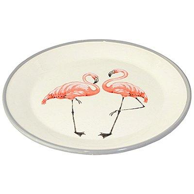 Prato Decorativo Flamingo de Cerâmica