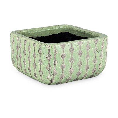 Vaso de Cerâmica com Quadrado Decorado G