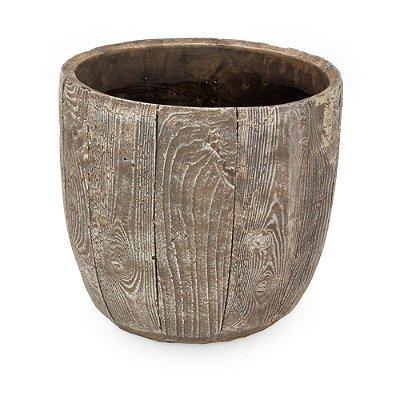 Vaso Terracota Envelhecida em Madeira G
