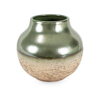 Vaso de Cerâmica com Degradê Verde Marrom P