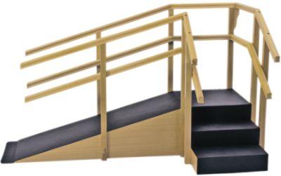 Escada de Canto com Corrimão Duplo e Rampa Carci