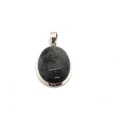 Pingente cabochão em quartzo rutilado fios cinza