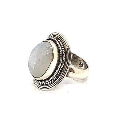 Anel cabochão pedra da lua em prata 925 trabalhada