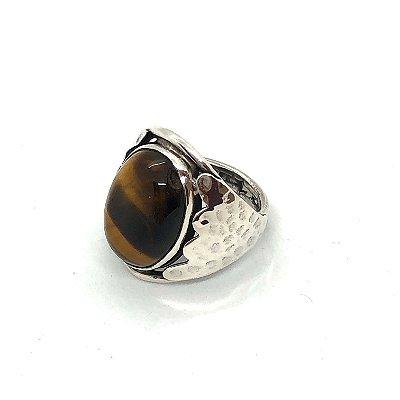 Anel cabochão olho de tigre com prata 925 amassada